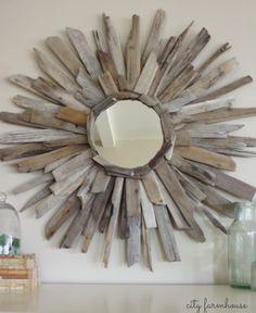 Coastal driftwood mirror