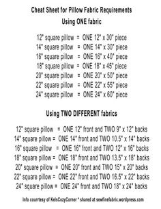 Pillows: Easy Room Refresher Envelope Pillow Cheat Sheet for size to cut fabric! NO MATH! Just sewing!Envelope Pillow Cheat Sheet for size to cut fabric! NO MATH! Just sewing! Sewing Pillows, Pillow Fabric, Quilted Pillow, Diy Pillows, Pillow Ideas, Sewing Pillow Cases, Decorative Pillows, Patchwork Pillow, Pillow Room