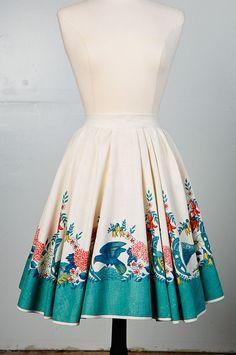 1950's Full Circle Skirt 50s Linen Circle Skirt  by frenchraven