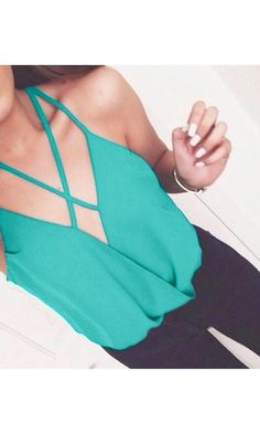 Crisscross Layered Top in Teal