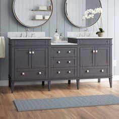 Ensemble de meuble-lavabo double de 72 po Hunter de Wrought Studio ™ Fini de la base: gris Vanity Set With Mirror, Vanity Sink, Bathroom Flooring, Bathroom Furniture, Bathroom Ideas, Bathroom Inspo, Bath Ideas, Bathroom Designs, Bathroom Renovations
