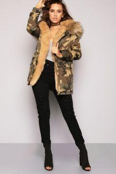 Asking Faux Fur Trouble Premium Hooded Camoflage Parka Beige