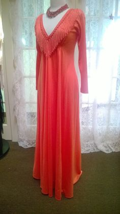 Womens' s Custom coral fringe gown size by SUNandMOONBoutique, $55.00