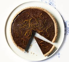 This clever no-bake tart from Elle Young uses raw cacao and coconut oil, sweetened naturally with dates, oranges and honey