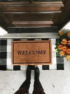 Love this idea of layered rugs for the entry. Mix And Match Layered Doormat Options // chris loves julia Preston, House 2, Home Design, Design Ideas, Apartment Decoration, Passion Deco, Front Door Mats, Front Door Entry, Fall Front Doors