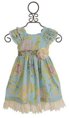 Mustard Pie Delphine Party Dress for Girls in Spa Blue
