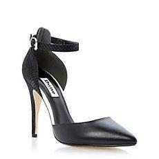DUNE LADIES Black DEMIE - Two Part Cross Over Elasticated Strap Court Shoe By Dune Shoes Online #dunelondon #dune #stilettos #heels #chic #point #sharp #monochrome #anklestrap