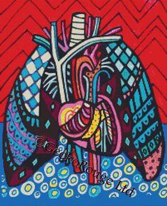Modern Cross Stitch Kit Lungs and Heart Anatomical Art By Heather Galler - Needlecraft - Anatomy