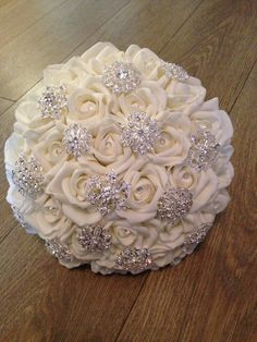 Ivory Foam Rose Brooch Bouquet by BouquetBliss on Etsy