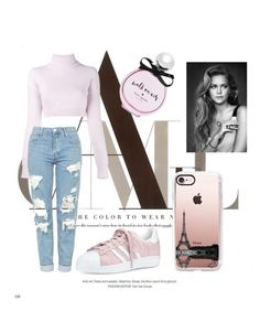 """""""Pink To The Bone."""" by indy-lunow on Polyvore featuring Balmain, adidas, Topshop, Kate Spade, Casetify, outfit, Pink, french and autumn"""