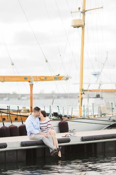 Sailboat Brittany and Gary's Newport Engagement Photos on The Newport Bride
