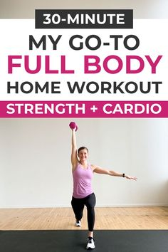 The best athome strength HIIT workout for women a full body workout. Build muscle burn 300 calories in with these 9 dumbbell exercises Home Workout Videos, Body Workout At Home, Home Exercise Routines, Fitness Workout For Women, At Home Workouts, Men Exercise, Workout Men, Health Exercise, Workout Tips