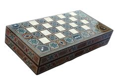 (Caleb) Foldable Backgammon Box / Checkers Board /  Chess set in Wood Intarsia & Mother of Pearl Inlay