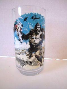 Vintage King Kong Glass Coca Cola 1976 New York Twin Trade Towers Coke Tumbler