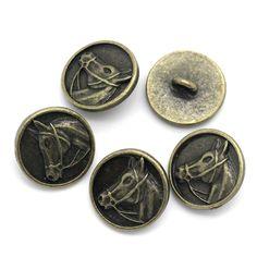5 boutons en métal avec une tête de cheval couleur bronze 15 mm - bouton cheval : Boutons par une-histoire-de-mode