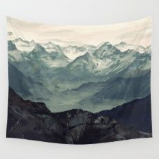 """So I was thinking we could hang one of these wall Tapestries, to bring in more imagery/art in an affordable and cool way. And I think a  nature theme like mountains, or the beach, or trees could be a great image to mentally see everyday. They come in 5ftx6ft or 7ftx8ft. I pinned a few of my favorites, but open to suggestions, just let me know which one makes you """"feel"""" good. Mountain Fog Wall Tapestry"""