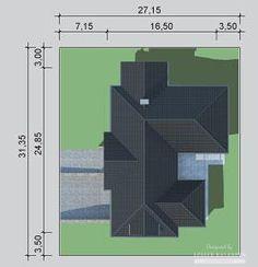 Projekty domów LK Projekt LK&1127    sytuacja 1 My House Plans, Bungalow House Design, Willis Tower, Ideas Para, Bar Chart, Exterior, How To Plan, Building, Home Decor