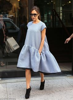 Victoria Beckham wearing a dress from her SS2014 Collection in New York.  (September 2013)