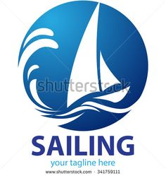 Vector shape sailing boat for logo, symbol shipping company or sport