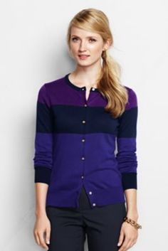 Women's Tall Supima Colorblock Cardigan Sweater