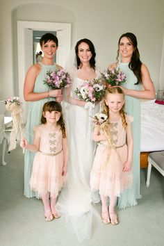 mint bridesmaids dresses and sweet flower girl style | www.onefabday.com