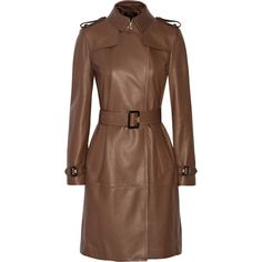 Burberry London Cullingham leather trench coat (17.840 RON) ❤ liked on Polyvore featuring outerwear, coats, burberry, jackets, chocolate, brown leather coat, genuine leather coat, leather trenchcoat and leather coat