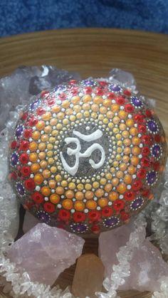 Mandala Stone Jewel Drop OM Symbol in Fall Colours by ArtsOfAnanda Dot Painting, Stone Painting, Warm Colors, Colours, Om Symbol, Rock Art, Painted Rocks, Christmas Bulbs, Oriental