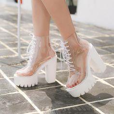 Transparent High-Heeled Platform Boots – S Adriaxna.x Transparent High-Heeled Platform Boots Thick Heel Boots, Thick Heels, Chunky Heels, Heeled Boots, Shoe Boots, Women's Shoes, Boots With Heels, Clear Heel Boots, Rain Boots