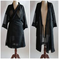 60's  Vintage Black Sheer Japanese Kimono Robe // One Size on Etsy, $84.99