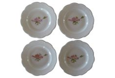 Lovely set of four Austrian porcelain dishes with graceful scalloped edges. One sweet pea blooms on each of these pretty plates. Antique China, Pie Dish, Austria, Vintage Items, Decorative Plates, Porcelain, Mint, Dishes, Antiques