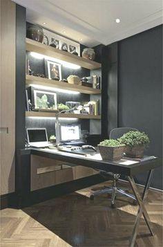 Fabulous And Simple Home Office Design Ideas For Men 13 - Room Design Small Home Office Desk, Small Home Offices, Home Office Furniture, Office Set, Office Interior Design, Office Interiors, Simple House, Interiores Design, Design Case