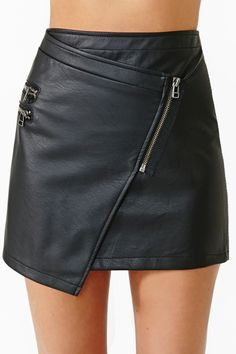 Black leather zipper skirt sexy!