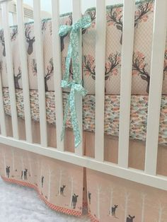 Little Oasis Custom Woodland Fawn Deer Crib Bedding. Choose what you need: crib sheet, skirt, blanket, changing pad, pillow, valance
