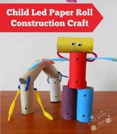 Rev up creativity with this fun, recycled construction kids' craft, building projects with toilet paper rolls!