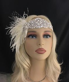 Ivory Wedding Headpiece Hair Accessory Headband Crystal Headband Great Gatsby Bridal Flapper Headband Ivory or Champagne Great Gatsby Headpiece, Flapper Headpiece, Gatsby Headband, Flapper Costume, 1920 Costumes, Fascinator, Gatsby Costume, Great Gatsby Fashion, Great Gatsby Makeup