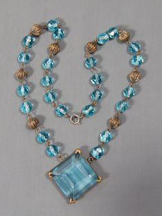 Vintage Art Deco Signed Czechoslovakia Czech Aqua Glass Bead Lavalier Necklace