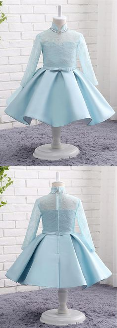 In Stock Eye-catching Lace & Satin High Collar Neckline Long Sleeves Ball Gown Flower Girl Dresses With Beadings