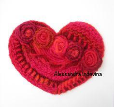 Cuore lana con rose