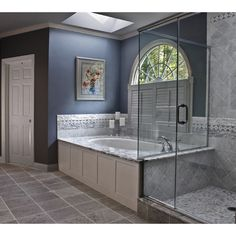 Master Bathroom - traditional - bathroom - boston - by Mitchell... ❤ liked on Polyvore featuring home, bed & bath, bath, bath accessories and houses