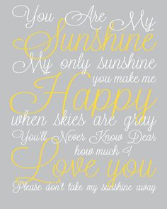 You are My Sunshine Nursery Print  Baby Lullaby by DaphneGraphics, $16.00