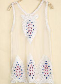 White Sleeveless Embroidered Sheer Mesh Yoke Vest US$19.87