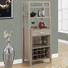 Features:  -1 Storage drawer.  -Finished back.  Product Type: -Home bar.  Style…