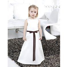 A-line Bateau Floor-length Satin Flower Girl Dress – EUR € 60.16