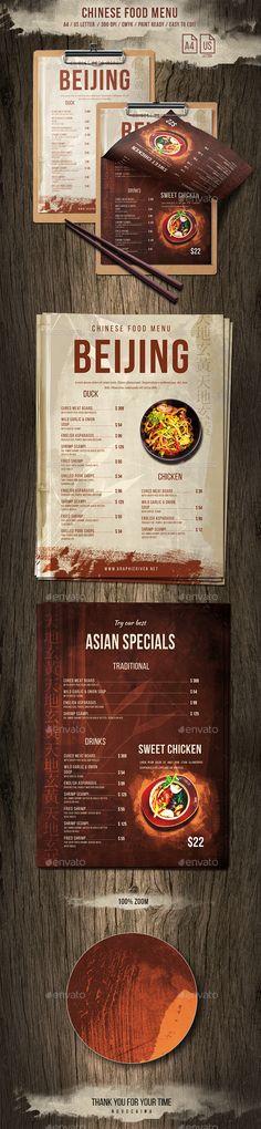 Chinese Single Page A4 US Letter Food Menu - #Food #Menus Print Templates