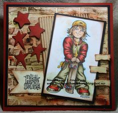 CopicMarkerNorge: CMN # 63 - Team 2 inspires - Kenny K digi - Skin: 93 Hair: 57 Red: Yellow: 35 Brown: 89 Skateboard: 47 Boy Cards, Kids Cards, Birthday Cards For Boys, Hobby House, Beautiful Handmade Cards, Teenager, Penny Black, Digi Stamps, Card Sketches