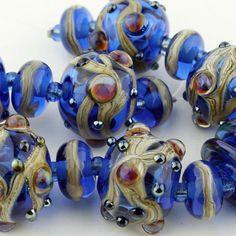 SRA Lampwork Glass Beads Organic Set by StoneDesignsbySheila