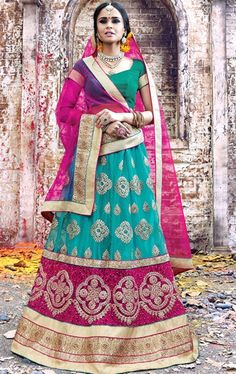 Angelic Turquoise and Pink Lehenga Choli