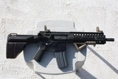 POF AR pistol with SIG wrist support, AFG, and MBUS