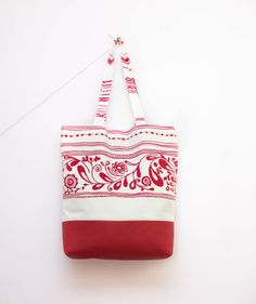 Ethnic Tote Bag, Vegan Leather Bag, White Red Tote by BirdsAreCurious