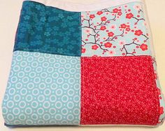Baby Quilt Modern- Red Blue Baby Quilt- Baby Quilt Girl-Patchwork Baby Quilt